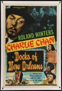 2h094 DOCKS OF NEW ORLEANS linen 1sh 1948 Roland Winters as Charlie Chan, Mantan Moreland, Sen Yung