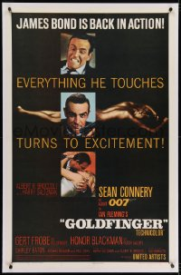 2h124 GOLDFINGER linen 1sh 1964 three great images of Sean Connery as James Bond 007!