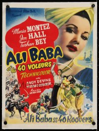2j253 ALI BABA & THE FORTY THIEVES linen Belgian 1948 art of Maria Montez, Jon Hall & Turhan Bey!