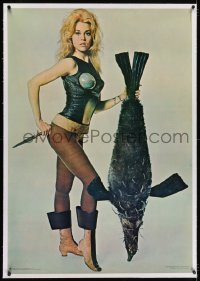 2j139 BARBARELLA linen 30x43 commercial poster 1968 Fonda & pengfish, recalled for legal problems!