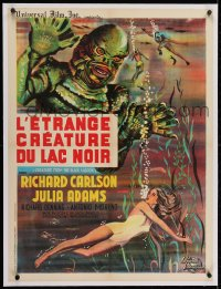 2j316 CREATURE FROM THE BLACK LAGOON linen French 24x32 R1962 art of monster looming over Adams!