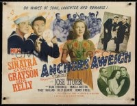 2j075 ANCHORS AWEIGH linen 1/2sh 1945 sailors Frank Sinatra & Gene Kelly with Kathryn Grayson!
