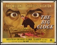 2j079 BIG CLOCK linen 1/2sh 1948 completely different art of Ray Milland w/body & giant looming eyes!