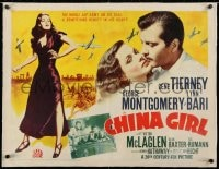 2j082 CHINA GIRL linen 1/2sh 1942 sexy Gene Tierney, George Montgomery, written by Ben Hecht, WWII, rare!