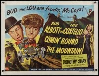 2j084 COMIN' ROUND THE MOUNTAIN linen style B 1/2sh 1951 Bud Abbott & Lou Costello, Dorothy Shay!