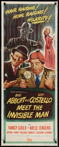 2j054 ABBOTT & COSTELLO MEET THE INVISIBLE MAN linen insert 1951 great art of Bud & Lou w/monster!