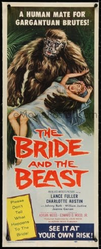 2j058 BRIDE & THE BEAST linen insert 1958 Ed Wood classic, great art of huge ape holding sexy girl!