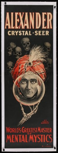 2j130 ALEXANDER CRYSTAL-SEER linen 14x41 magic poster 1915 world's greatest master of mental physics!