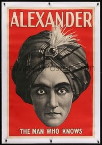 2j131 ALEXANDER THE MAN WHO KNOWS linen 28x42 magic poster 1920s cool headshot art of the magician!
