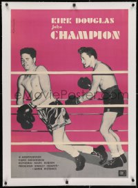 2j233 CHAMPION linen Polish 23x33 1961 boxer Kirk Douglas fighting in the ring, boxing classic!
