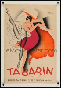 2j159 BAL TABARIN linen 16x24 French special poster 1928 Paul Colin art of sexy dancer kicking leg!