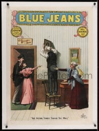 2j151 BLUE JEANS linen 21x29 stage poster 1890 Joseph Arthur, the picture turned toward the wall!