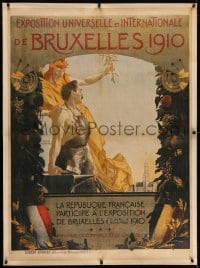 2j042 BRUSSELS INTERNATIONAL 1910 linen 33x45 French special poster 1910 Henri Bellery-Desfontaines