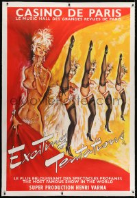 2j037 CASINO DE PARIS linen 40x59 French stage poster 1960s Okley art of sexy showgirls kicking!