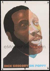 2j162 DICK GREGORY linen 24x36 album insert poster 1969 Milton Glaser close up art of the activist!