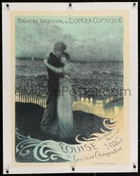 2j156 LOUISE linen 25x33 French stage poster 1900 wonderful romantic art by George Rochegrosse!