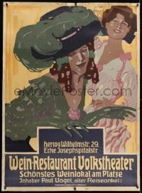 2j036 WEIN-RESTAURANT VOLKSTHEATER linen 36x49 German advertising poster 1908 Josef R. Witzel art!