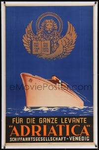 2j190 ADRIATICA linen 25x40 Italian travel poster 1938 great art of cruise ship on the Adriatic Sea!