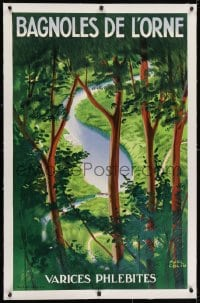 2j183 BAGNOLES DE L'ORNE linen 24x39 French travel poster 1937 Paul Colin art of river in forest!