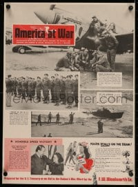 2j204 AMERICA AT WAR linen 16x22 WWII war poster 1943 news showing our country in action!