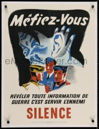 2j207 BEWARE DO YOUR PART IN SILENCE linen French 19x25 Canadian WWII war poster 1940s Hitler art!