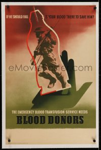 2j208 BLOOD DONORS linen 19x30 English WWII poster 1940s emergency transfusion service, Games art!