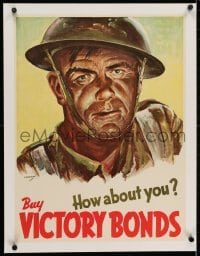 2j210 BUY VICTORY BONDS HOW ABOUT YOU linen 18x24 Canadian WWII war poster 1940s great Sampson art!
