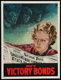2j209 BUY VICTORY BONDS linen 18x24 Canadian WWII war poster 1940s White art of woman & soldiers!