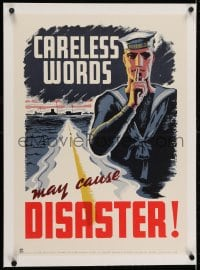 2j212 CARELESS WORDS MAY CAUSE DISASTER linen 17x24 Canadian WWII war poster 1941 Thorarinn art!