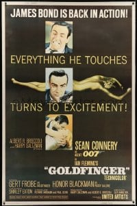 2k012 GOLDFINGER style Z 40x60 1964 three great images of Sean Connery as James Bond, ultra rare!