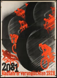 2k028 2081 RADFAHRER VERUNGLUCKTEN 1928 47x66 German special poster 1929 cool Glass cyclist art!