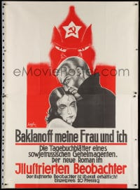 2k039 BAKLANOFF MEINE FRAU UND ICH 47x66 German advertising poster 1932 art for Soviet spy book!