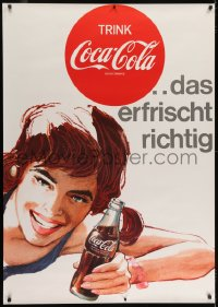 2k040 COCA-COLA 36x51 Swiss advertising poster 1959 art of happy woman holding iconic Coke bottle!