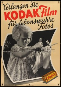 2k046 KODAK 36x50 Swiss advertising poster 1940s cute photo of child hanging laundry on line!