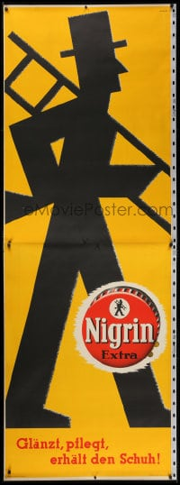 2k048 NIGRIN 33x94 German advertising poster 1938 cool Straub silhouette art for this shoe polish!