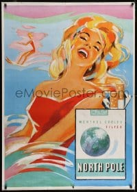 2k049 NORTH POLE 36x50 Swiss advertising poster 1959 great art of sexy woman w/ these cigarettes!