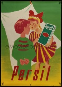 2k052 PERSIL 36x51 Swiss advertising poster 1950 Donald Brun art of children with this detergent!