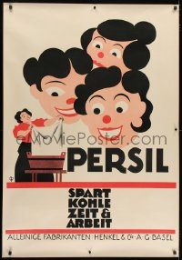 2k051 PERSIL 35x50 Swiss advertising poster 1920s art of 3 women smiling at woman doing laundry!