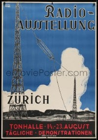 2k035 RADIO-AUSSTELLUNG 35x50 Swiss special poster 1924 Otto Durr art of radio antenna towers!