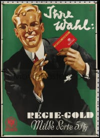 2k053 REGIE-GOLD 47x66 German advertising poster 1932 Ludwig Hohlwein art, man w/these cigarettes!
