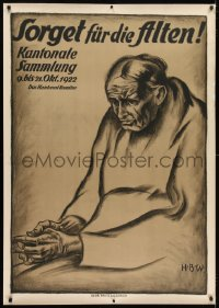2k036 SORGET FUR DIE ALTEN 36x50 Swiss charity benefit poster 1922 H.B.W. art of sad elderly woman!