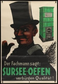 2k058 SURSEE-OEFEN 35x51 Swiss advertising poster 1927 great Carl Scherer art of chimney sweep!