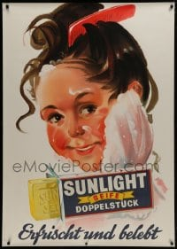 2k057 SUNLIGHT 36x50 Swiss advertising poster 1943 best bar soap for washing your kids' faces!