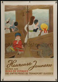 2k061 HEUREUSE JEUNESSE 36x50 Swiss travel poster 1944 kids on railroad train through countryside!