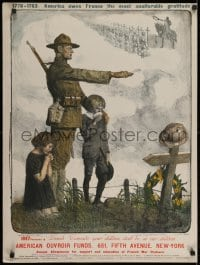 2k071 AMERICAN OUVROIR FUNDS 24x32 French WWI war poster 1918 Jonas art of soldier & kids by grave!