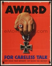 2k075 AWARD FOR CARELESS TALK 20x26 WWII war poster 1944 Dohanos art, it results in Nazi medals!