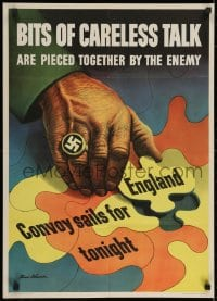 2k076 BITS OF CARELESS TALK 20x28 WWII war poster 1943 Dohanos art of England taken by Nazi!