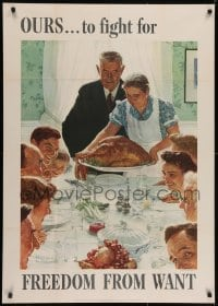 2k079 FREEDOM FROM WANT 29x40 WWII war poster 1943 classic Norman Rockwell patriotic art!