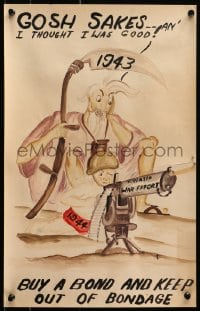 2k070 GOSH SAKES signed 12x19 war poster original art 1944 EJC art of Father Time & Baby New Year!