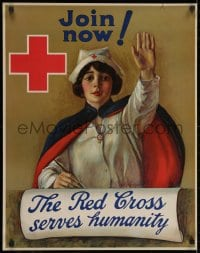 2k073 RED CROSS SERVES HUMANITY 22x28 WWI war poster 1918 C.W. Anderson art of recruiting nurse!